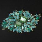 Vintage Rhinestone Crystals Fashion Green Flower Brooch Broach Pins Jewelry 4079