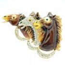 Stunning Enamel Brown 3 Horses Brooch Broach Pin With Rhinestone Crystals 4513