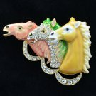 Graceful Enamel Multicolor 3 Horses Brooch Broach Pin Rhinestone Crystals 4513