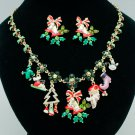 New Christmas Bell Flower Necklace Earring Sets Mix Rhinestone Crystal Gift 0264