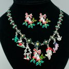 New Multi Christmas Gifts Necklace Earring Sets Mix Rhinestone Crystal Bell 0264