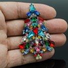 New Women Prom Gift Multicolor Christmas Tree Brooch Pin Rhinestone Crystal 5458
