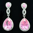 Pretty Pink Rhinestone Crystals Dangle Teardrop Pierced Earring Prom Party 20621