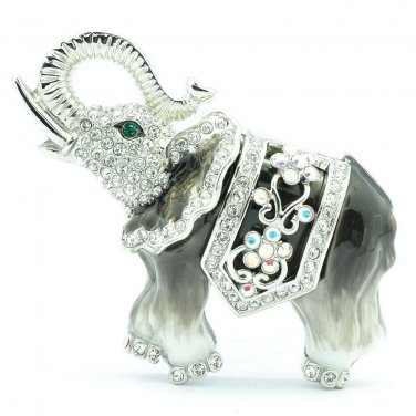 Rhinestone Crystals Enamel Gray Animal Elephant Brooch Broach Pin SBA4509