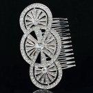 Rhinestone Crystals Triple Round Bride Wedding Hair Comb Headband Women XBY067
