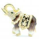 Brown Elephant Enamel Brooch Broach Pin With Rhinestone Crystals Jewelry SBA4509