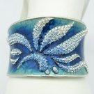 Stunning Blue Enamel Leaves Flower Bracelet Bangle Swarovski Crystals SKA1961M-2