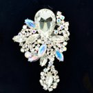 "Wedding Rhinestone Crystals Clear Flower Brooch Broach Pin 3.2"" 6146"