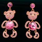 Pretty Cute Dangle Pink Bear Panda Pierced Earring Swarovski Crystals SEA0886-5