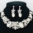 Delicate Clear Rhinestone Crystals Flower Necklace Earrings Set For Wedding 5397
