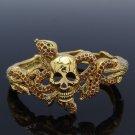 High-Q Brown Swarovski Crystals Snake Skeleton Skull Bracelet Bangle SKCA1792-1