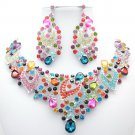 Glitzy Multicolor Flower Necklace Earring Jewelry Sets Rhinestone Crystals 02780