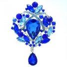 """Teardrop Sea Blue Flower Brooch Broach Pin 3.5"""" w/ Rhinestone Crystals 4082"""