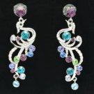 Gold Tone Peafowl Peacock Pierced Earring Mix W/ Purple Swarovski Crystal SE0856