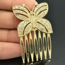 Rhinestone Crystal Gold Tone Butterfly Hair Comb Headband Women For Party XBY054