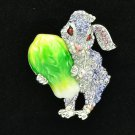 Swarovski Crystals Cabbage Purple Bunny Rabbit Brooch Broach Accessories 4507
