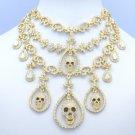 Halloween Flower Skull Necklace Earring Sets Rhinestone Crystals Women's Jewelry
