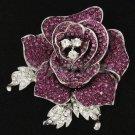 "Fabulous Purple Rose Flower Brooch Broach Pin Rhinestone Crystals  2.1"" FB1077"
