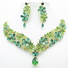 Art Deco Green Flower Necklace Earring Jewelry Set Drop Rhinestone Crystal 6098