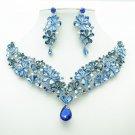 Sea Blue Flower Necklace Earring Jewelry Sets Tear Drop Rhinestone Crystals 6098