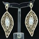 Gold Leaf Rose Bud Cutout Pierced Earring Clear Zircon Rhinestone Crystal 27686