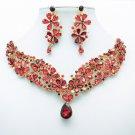 Art Deco Red Flower Necklace Earring Jewelry Set Drop Rhinestone Crystal 6098