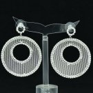 Sliver Round Donut Cutout Pierced Earring Pendant Rhinestone Crystal Women 27675