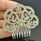 Pretty Clear Heart Flower Hair Comb Headband Rhinestone Crystal for Women XBY032