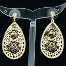 Golden Teardrop Flowers Cutout Pierced Earrings Pendant Rhinestone Crystal 27742