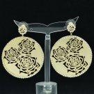 Chic Rhinestone Crystal Golden Circle Flower Cutout Pierced Earring Women 27699