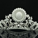 Clear Rhinestone Crystal Sunflower Leaf Tiara Crown Wedding Bridal Jewelry 5361R