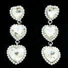 Attractive 3 Heart Pierced Drop Earring Clear Rhinestone Crystals Wedding141322