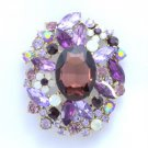 "Vintage Purple Flower Pendant Brooch Pin 2.5"" W/ Rhinestone Crystals 4888"