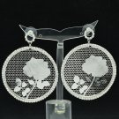 Sliver Round Rose Bouque Cutout Pierced Earring Pendant Rhinestone Crystal 27674