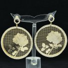 Super Rhinestone Crystal Gold Circle Flower Cutout Pierced Earring Jewelry 27674