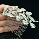 Clear Leaves Bud Hair Comb Tiara Headband Rhinestone Crystal Party Jewelry 2237R