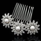 Cute Imitated Pearls Flower Hair Comb Wedding Jewelry Rhinestone Crystals 1461R1