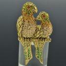 Vintage Brown Bird Parrot Cocktail Ring Sz Adjustable Swarovski Crystal SR2114-1
