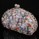 Multicolor Flamingo Bird Clutch Evening Bag Handbag Purse Swarovski Crystal