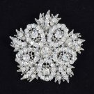 "Rhinestone Crystal Clear Flower Brooch Pin 2.5"" For Wedding Women's Jewelry 3814"
