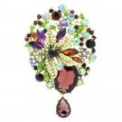 "Purple Teardrop Flower Brooch Broach Pin 3.9"" Pendant Rhinestone Crystals 6022"