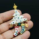 Art Deco Clear Christmas Tree Brooch Pins Enamel Socks Rhinestone Crystals 0679