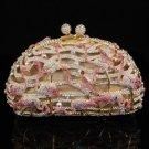 Awesome Pink Flamingo Bird Clutch Evening Bag Handbag Purse W/ Swarovski Crystal
