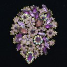"Rhinestone Crystals Light Amethyst Flower Brooch Broach Pin 3.9"" 3905"