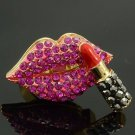 Gold Tone Pink Lipstick Lip Cocktail Ring Adjustable W/ Rhinestone Crystals