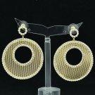 Fabulous Rhinestone Crystal Gold Round Donut Cutout Pierced Drop Earring 27675