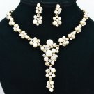 Rhinestone Crystals Bridal Faux Pearl Flower Necklace Earring Set Gold Tone 0954