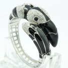 High Quality Black Bird Toucan Bracelet Bangle Cuff W/ Swarovski Crystals 1946M