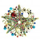 Multi-color Starfish Brooch Broach Pin W/ Imitate Pearl Rhinestone Crystals 6412