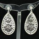 Novia Rhinestone Crystal Teardrop Flowers Cutout Pierced Earrings Jewelry 27742
